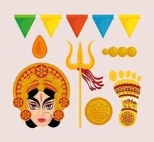 navratri hinduiska firande ikonuppsättning vektor