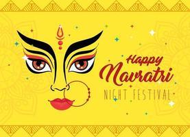 navratri hinduiska firande affisch med durga ansikte vektor