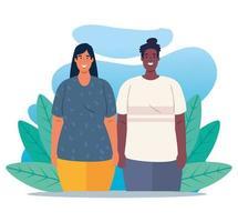 multietniskt ungt par, mångfald och mångkulturella koncept vektor