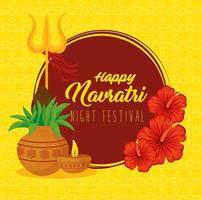 Navratri Hindu Feier Poster mit Dekorationen vektor