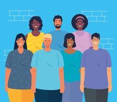 multietniskt grupp människor tillsammans, mångfald och multikulturalism koncept vektor