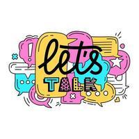 Lassen Sie uns über Sprechblasenillustration und Beschriftung sprechen
