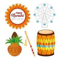 Navratri Hindu Feier Icon Set vektor