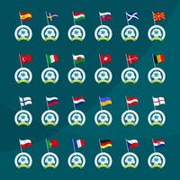 europas landflaggor på bollar vektor