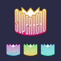 superhjälte emblem bokstäver med krona vektor