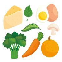 hälsosam och färsk mat Ikonuppsättning vektor