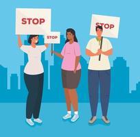 grupp människor protesterar, aktivister för mänskliga rättigheter koncept