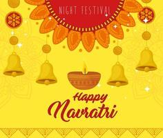 navratri hinduiska firande affisch med dekorationer vektor