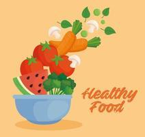 gesunde Lebensmittel Banner mit Gemüse und Obst in einer Schüssel vektor