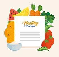hälsosam livsstil banner med grönsaker, frukt och mat vektor