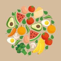 Banner für einen gesunden Lebensstil mit Gemüse, Obst und Lebensmitteln