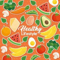 hälsosam livsstil banner med grönsaker, frukt och mat