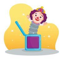 Clownspielzeug in der Schachtel, mit Sternen auf Hintergrund vektor