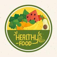 gesunde Lebensmittelmarke mit frischem Gemüse und Obst vektor