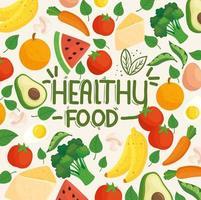 Banner für einen gesunden Lebensstil mit Gemüse, Obst und Lebensmitteln vektor