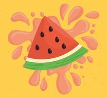 frische Scheibe Wassermelone mit saftigem Spritzer vektor
