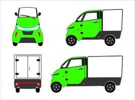 elektrisk expresscykel trehjuling med låsbar lastbox. stad elektrisk leverans lastcykel. vektor.