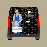 Milchprodukte Fahrzeugabdeckung, Bauer bärtigen Dorfmann in Arbeitskleidung auf der Ranch mit großer Dose Milch in den Händen. Vektor. vektor