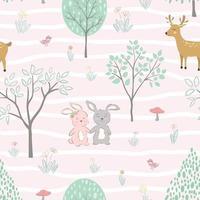 söta djur glada på våren sömlösa mönster vektor
