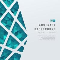 abstrakt mall vita geometriska linjer mönster på triangel grön och blå bakgrund. trendig färg futuristisk teknik design koncept bakgrund med utrymme för text. vektor illustration