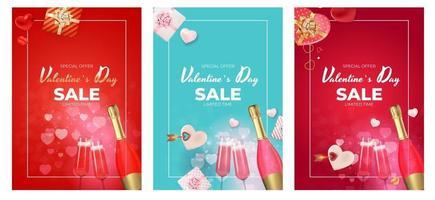 Valentinstag Verkauf Weihnachtsgeschenkkarte Hintergrund, realistische Design-Set vektor