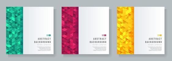 uppsättning abstrakt mall vitt geometriskt mönster på triangel grön röd och gul mönster bakgrund. trendig färg futuristisk teknik design koncept bakgrund med utrymme för text. vektor eps10