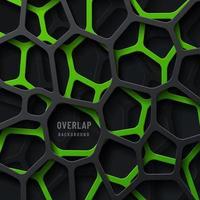 abstrakte grün und schwarz geometrisch gestreifte Überlappungsschichten auf dunklem Hintergrund. modernes technisches futuristisches Design. Sie können für Cover-Vorlage, Poster, Flyer, Print-Anzeige verwenden. Vektorillustration vektor