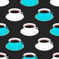 sömlös bakgrund med kopp kaffe vektor