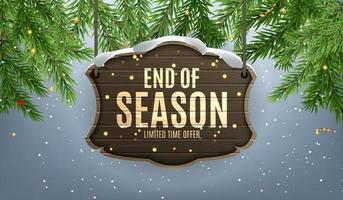 horizontales Winter-Ende der Saisonverkaufsschablonenentwurf auf grauem Hintergrund