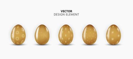realistisk 3d påskägg brun färg designelement samling på ljus bakgrund. vektor illustration