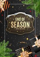Porträt Winter Ende der Saison Verkauf Vorlage Design auf schwarzem Hintergrund