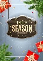 Porträt Winter Ende der Saison Verkauf Vorlage Design auf grauem Hintergrund