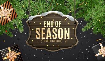 horizontales Winter-Ende der Saisonverkaufsschablonenentwurf auf schwarzem Hintergrund