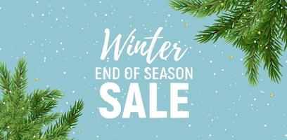Hintergrunddesign des Winterendverkaufs mit weißem Text auf blauem Hintergrund