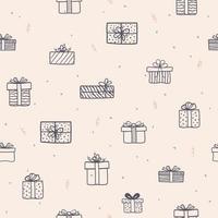 Hand gezeichnete Geschenkboxen nahtloses Muster für Dekorations-, Stoff-, Textil-, Druck- oder Geschenkpapier vektor