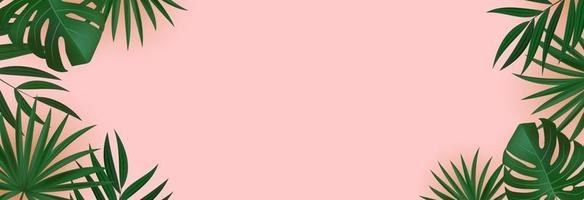 natürliche realistische grüne tropische Palmblätter auf rosa Hintergrund. Vektorillustration