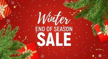 Winter Ende der Saison Verkauf Vorlage mit weißem Text auf rotem Hintergrund