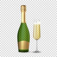 realistische 3d Champagnergrün und goldene Flasche und Glas isoliert. Vektorillustration