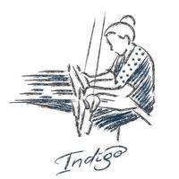eine Frauenhand, die Zeichnung mit Pinselstrich-Strichart webt und färbt. trägt einen Indigostoff und lokale Textilien. vektor