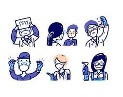 Action-Avatar für medizinische Charaktere. vektor