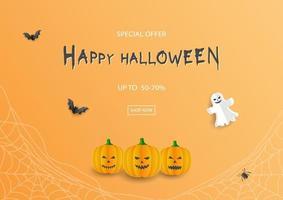 halloween försäljningsbanner med rabatterbjudande på orange bakgrund vektor