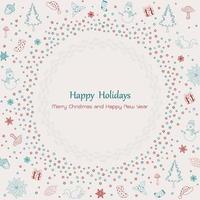 god jul och lyckligt nytt år vintage gratulationskort design vektor