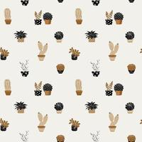 Hand gezeichnete niedliche Sukkulenten auf Töpfen nahtloses Muster vektor