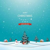Frohe Weihnachten und ein frohes neues Jahr Grußkarte mit Winterlandschaft, Schneemann und Geschenkboxen vektor