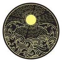 Sonnenschein und Wasserwelle in runder Form vektor