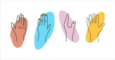 abstrakte zeitgenössische moderne trendige Hand gezeichnete Handlinie gesetzt vektor