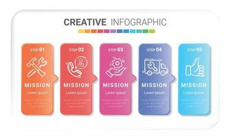 Präsentations-Infografik-Vorlage mit 5 Optionen, Vektor-Infografiken-Design und Marketing-Symbolen. vektor
