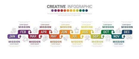 Zeitleistengeschäft für 12 Monate, 1 Jahr, Zeitleisten-Infografiken Designvektor und Präsentationsgeschäft können für Geschäftskonzepte mit 12 Optionen verwendet werden. vektor