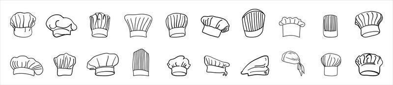Kochmütze Zeichnung Logo gesetzt vektor