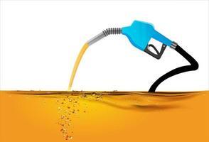 Düse pumpt Benzin in einen Tank vektor